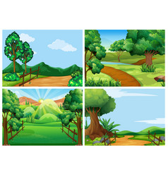 Mountain scenes with tracks and trees vector