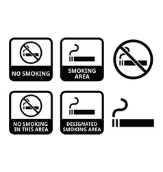 No smoking smoking area icons set vector
