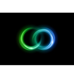 Neon light dark green blue vector