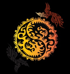 Flying red dragon hanging yin yang symbol with ph vector