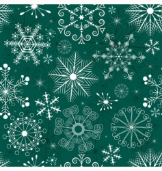 Christmas seamless green white pattern vector image