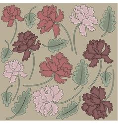 Vintage peony flowers vector