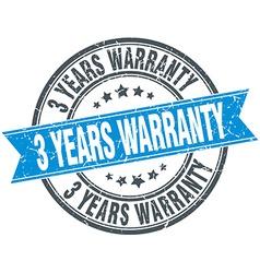 3 years warranty blue round grunge vintage ribbon vector
