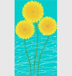 Long card yellow dandelion vector