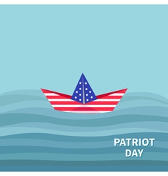 Boat ocean patriot day flat vector