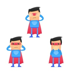 set of funny cartoon superhero vector image