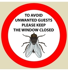 Sticker with warning sign insect fly icon fly vector