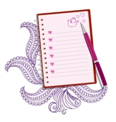 Pink realistic note with pen vector