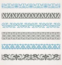 Decorative seamless ornamental borders vector