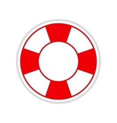Paper sticker on white background round lifebuoy vector
