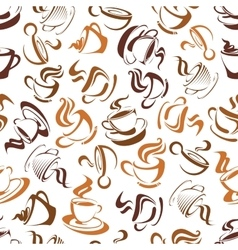 Creamy cappuccino coffee seamless pattern vector