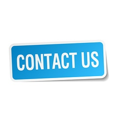 Contact us blue square sticker isolated on white vector