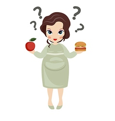 Pregnant woman with an apple in one hand and hambu vector