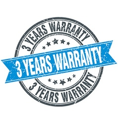 3 years warranty blue round grunge vintage ribbon vector image