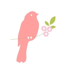 Bird silhouette on a tree branch vector