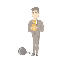 Caucasian businessman with bag full of taxes vector