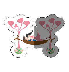 Couple love hammock leisure shadow vector