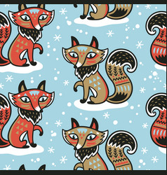cute pattern with fox and vector image vector image