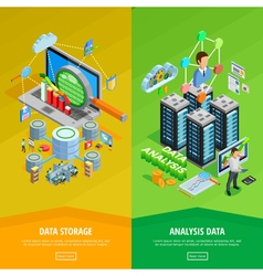 Data Analysis 2 vertical Isometric Banners vector image vector image