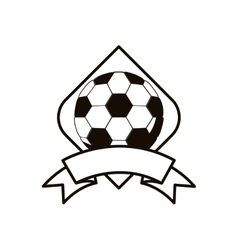 Gray scale soccer tournament emblem with ball vector