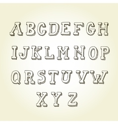 Hand drawn font retro alphabet vintage style vector image vector image