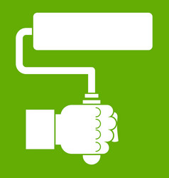 hand hoding paint roller icon green vector image
