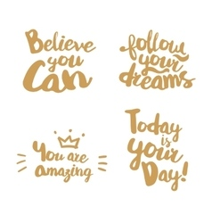 Hand lettering with gold color vector