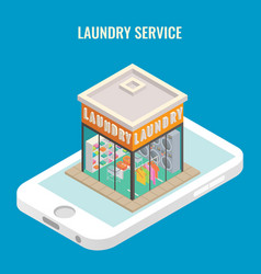 laundry mobile flat 3d isometric vector image