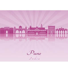 Pune skyline in purple radiant orchid vector image vector image