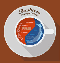 Red ocean and blue ocean business strategy in cup vector