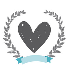 Rustic heart with leaves hand drawn vector