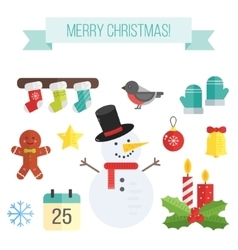 Set of christmas icons flat elements- vector image vector image