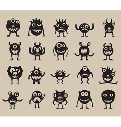 Set of monsters silhouettes vector image vector image