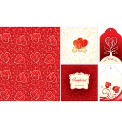 Set of Valentine day cards vector image vector image