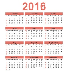 Simple calendar 2016 Week starts on Sunday vector image