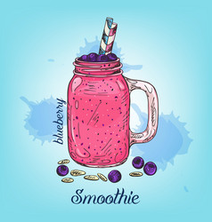 Sketch of blueberry smoothie in jar isolated on vector
