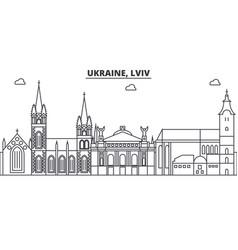 ukraine lviv architecture line skyline vector image