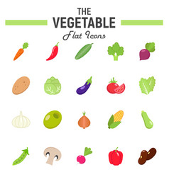 vegetable flat icon set food symbols collection vector image vector image