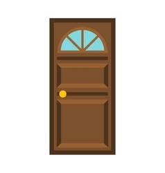 Wooden door with arched glass icon flat style vector image vector image