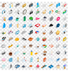 100 tools icons set isometric 3d style vector
