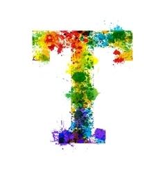 Color Paint Splashes Gradient Font vector image