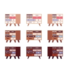 Set of high retro sideboards with drawers and vector