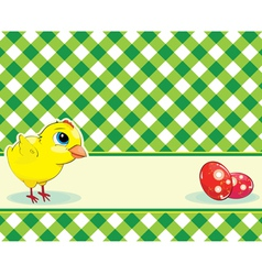 Checkered background with chicken and easter eggs vector