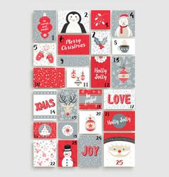 Cute merry christmas advent calendar for holiday vector