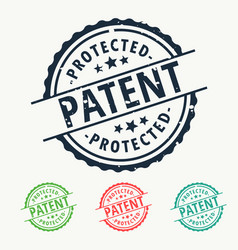 Patent protected rubber stamp badge set vector