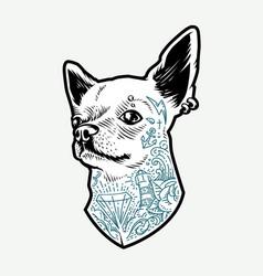 Tattooed chihuahua vector