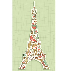 Travel paris icon set eiffel tower vector