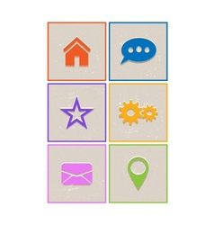 Flat retro web icons vector image