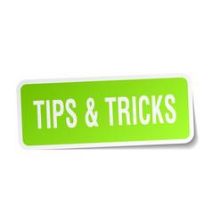 Tips tricks square sticker on white vector