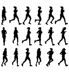 Female marathon runners vector